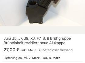 Jura Drainageventil für J5 XJ J7 8 F7 J9 9 Brühgruppe Brüheinheit Alukappe