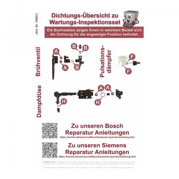 Reparatur Wartungsset / Inspektionsset PREMIUM (L) für Siemens / Bosch / Neff / Gaggenau Kaffeevollautomaten mit Drainageventil)