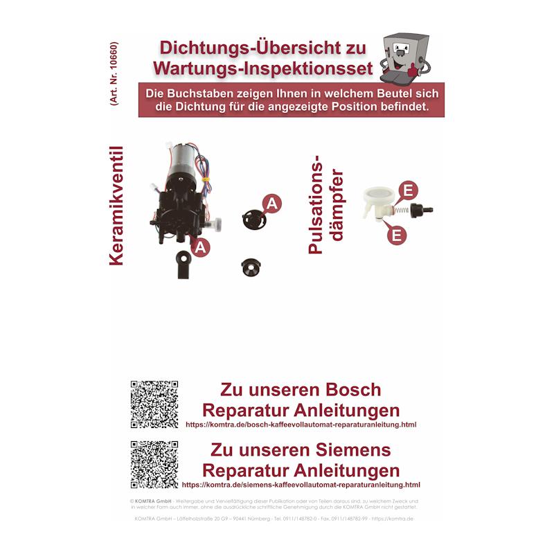 S Reparatur Wartungsset//Inspektionsset f/ür Bosch Vero Kaffeevollautomaten
