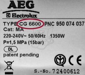 AEG Typ-Modell Bezeichnung