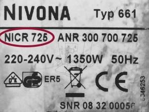 Nivona Typ-Modell Bezeichnung