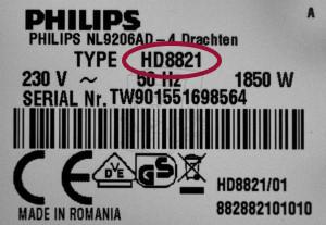 Philips Typ-Modell Bezeichnung