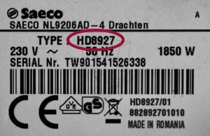 Saeco Typ-Modell Bezeichnung
