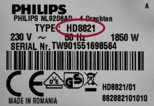 Saeco Philips Typ-Modell Bezeichnung