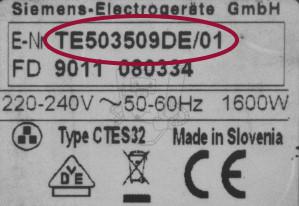 Siemens Typ-Modell Bezeichnung
